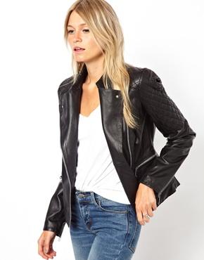 Mango | Mango Quilt Detail Leather Jacket at ASOS