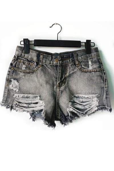 KCLOTH Washed Black Pockets Ripped Zipper Denim Shorts