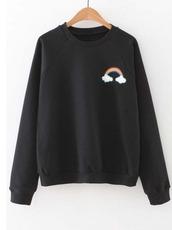 sweater,girl,girly,girly wishlist,black,black sweater,rainbow,crewneck,crewneck sweater,crewneck sweatshirt
