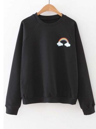 sweater girl girly girly wishlist black black sweater rainbow crewneck crewneck sweater crewneck sweatshirt