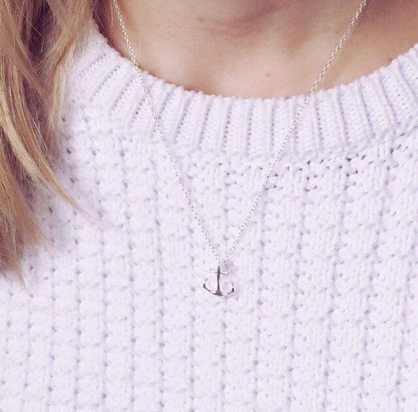 jewels jewelry silver necklace anchor anchor jewelry silver necklace sweater white cute