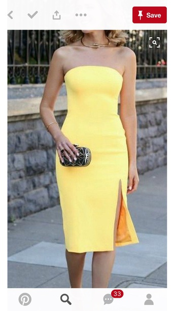 4a45a5e9b12 dress yellow dress tight fitting yellow midi dress wedding guests bodycon  bodycon dress midi strapless strapless