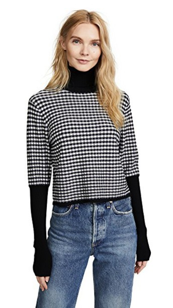 turtleneck cropped turtleneck cropped gingham black sweater