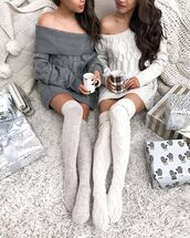 socks,tumblr,knee high socks,knitted socks,high socks,sweater,white sweater,grey sweater,cable knit,white cable knit sweater,grey cable knit sweater,off the shoulder,off the shoulder sweater,christmas,holiday season,sweater weather