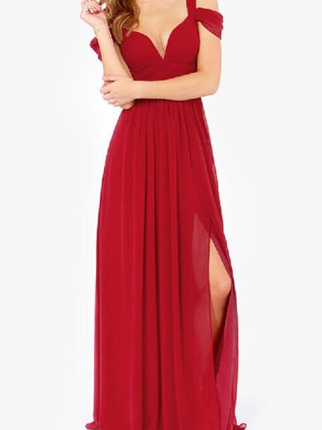 a309c4cf09e elegant red v neck long cocktail dress sleeveless maxi