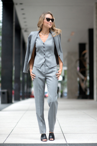pants power suit womens suit grey pants office outfits streetstyle vest grey vest blazer grey blazer mules black mules spring outfits sunglasses cat eye matching set