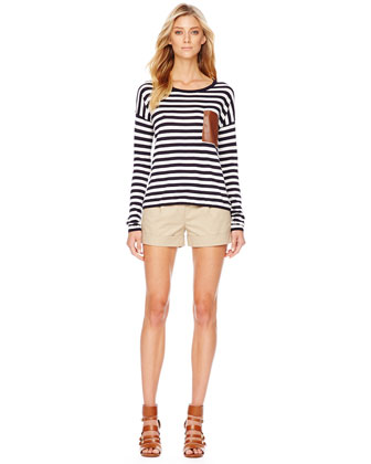 MICHAEL Michael Kors  Leather-Pocket Striped Tee & Belted Twill Shorts - Neiman Marcus