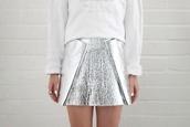 skirt,foil,silver,metallic,silver skirt,metallic skirt