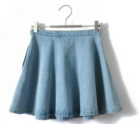 Vintage Denim Circle Skirts High Waist Mini Short Skirts