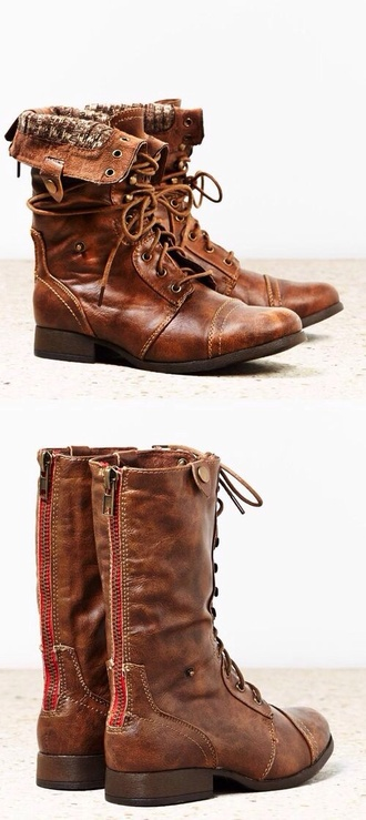 shoes boots brown leather boots combats cognac leather combat boots steve madden fold down combat boots brown leather boots ankle boots brown combat boots brown boots fall outfits blouse folded combat boots worn out brown pattern inside american eagle outfitters