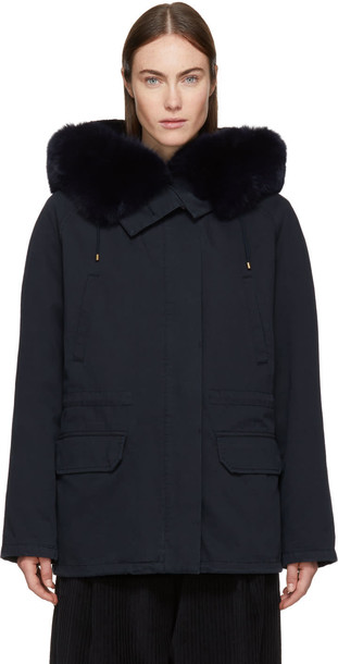 Army By Yves Salomon parka short fur classic navy coat