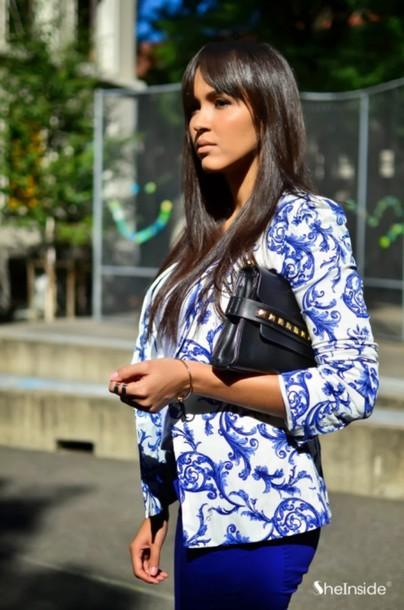 jacket balzer blue flowers white