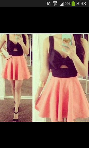 dress black cut out dress schleife dress black orange skirt tank top orange