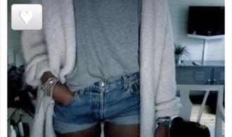 jacket grey t-shirt grey sweater jeans shorts long cardigan shirt