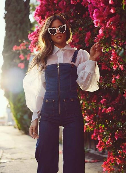jeans overalls denim overalls rocky barnes blouse top sunglasses instagram spring outfits spring cute cute outfits denim flare
