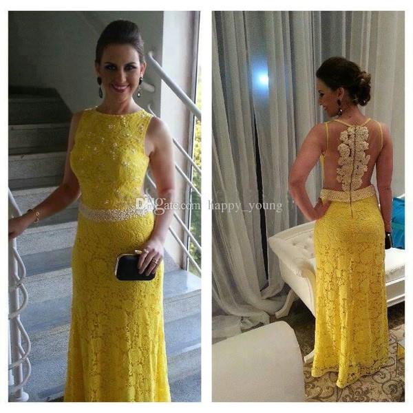 prom gowns prom dress vestido de festa lace dress yellow lace dress bateau dresss pearls lace dress