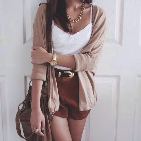 jacket shorts jewels tank top bag belt