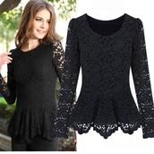 top,black lace top,long sleeve t-shirt,flora peplum cocktail blouse