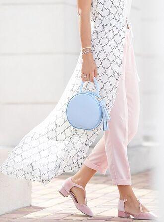 bag round bag blue bag baby blue tumblr shirt long shirt pants pink pants pastel pastel pink pastel bag pastel blue