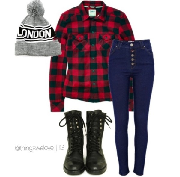 hat blue skinny jeans combat boots flannel shirt