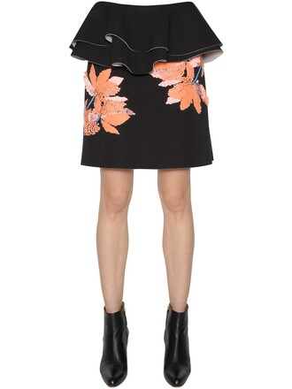 skirt embellished floral black