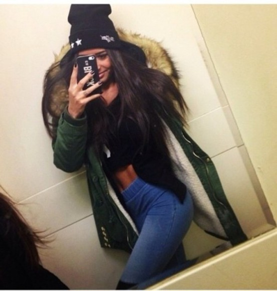 jeans green parka fur fur hood