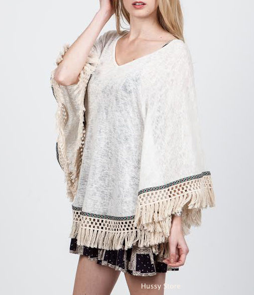 Oatmeal cream fringe poncho top embroidered boho 70s hippie usa new 2015
