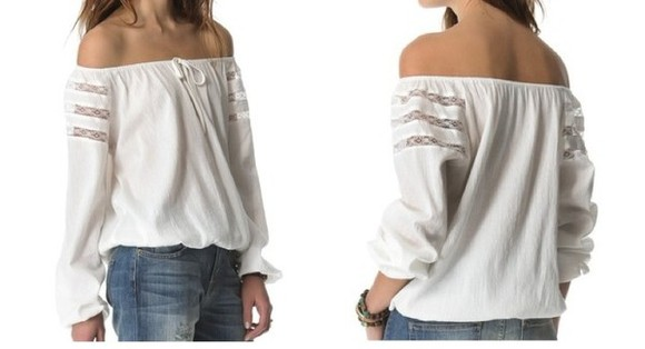 blouse off the shoulder shirt top elastic hem long sleeves sheer shoulder white blouse