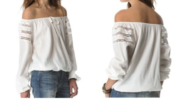 White blouse off the shoulder long sleeves sheer shoulder elastic hem