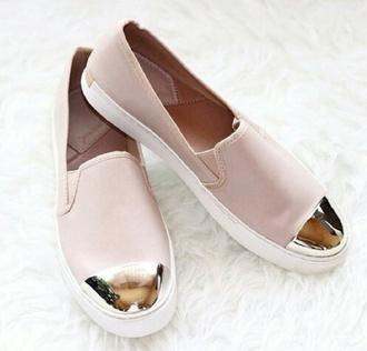 shoes rose slip-on miroir dor?