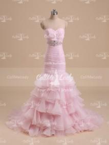 Pink sweetheart beading ruffles a-line wedding dress - CallMeLady