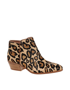 0c9c82a4e Sam Edelman Real Fur Leather Petty Leopard Low Heel Ankle Boots ...
