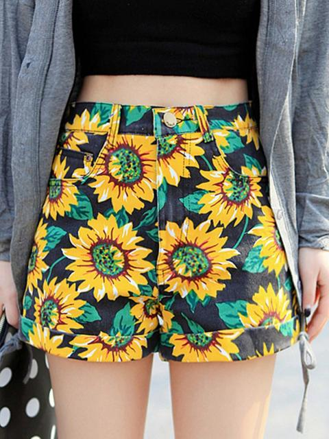 Sunflower Print High Waist Denim Shorts in Black | Choies