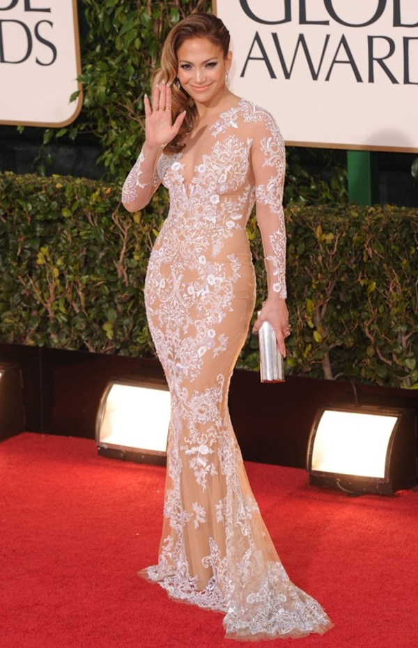 dress jennifer lopez sheer lace