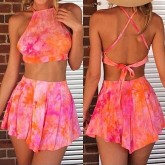 dress two-piece fashion style crop tops summer colorful pink orange rose wholesale-feb