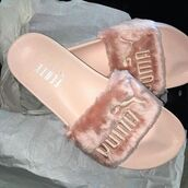shoes,pink,baby pink,marabou,fluffy,fur,sandals,puma,slippers