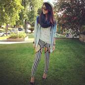 pants,leggings,suspenders,stripes,striped trousers,vertical stripe,black and white,cut-out,fashion blogger,Pop Couture