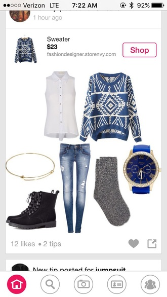 sweater blue white aztec aztec sweater