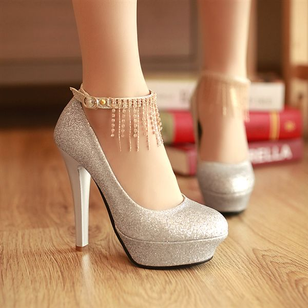 2013 New arrive hot sale Pumps buckle Platform thin high heel, rhinestone shoes for women, purity silvery gold red LWS 130130 17-inPumps from Shoes on Aliexpress.com