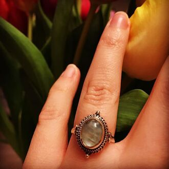 jewels shop dixi rainbow moonstone sterling silver ring boho bohemian grunge goth hippie mermaid