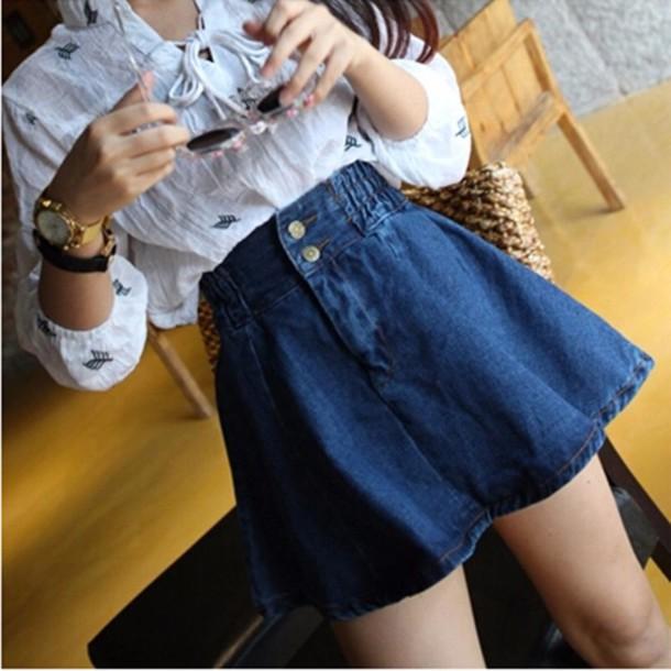 Skirt denim skater skirt vintage it girl shop flare ...