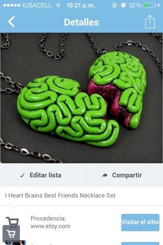 jewels brains heart necklace zombie