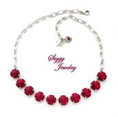 jewels,siggy jewelry,necklace,red,ruby,siam,swarovski,red necklace,valentines day gift idea,sparkle,bling,statement necklace,fashionista,etsy,designer jewelry,elegant,date outfit