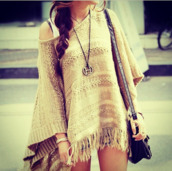 dress,brown,sweater,fringes,one shoulder,blouse,beige,native american,boho,bohem,bohemian,hippie,fall outfits,gypsy,style,light,lovely,outfit,trendy,hipster,fringed top,fringed sweater,cape,knitwear,knitted cardigan,knitted sweater,off the shoulder,casual,streetwear,creme,back to school,fall sweater,autumn/winter,fashion,winter outfits,winter sweater,sweater dress,knitted cape