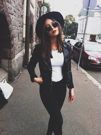 jacket leather black bomber jacket jeans sunglasses hat shirt round fashion style silver summer outfit vintage hipster round sunglasses leather jacket black leather jacket black hat grunge pants