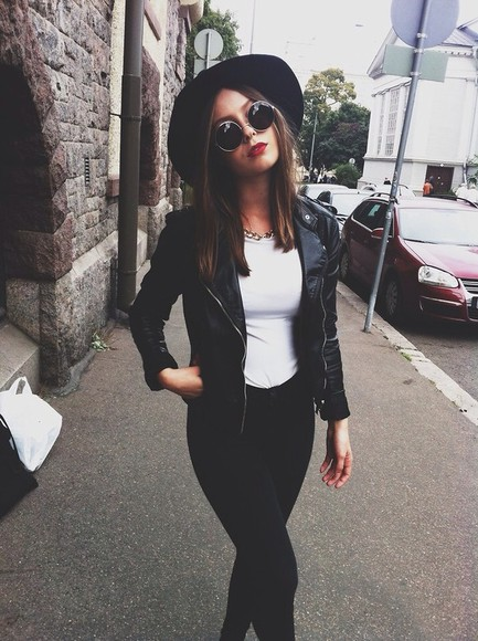 jacket pants leather black bomber jeans sunglasses hat hat vintage hipster grunge