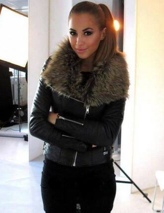 jacket coat leather black fur cool beautiful girl smile brunette leather jacket black leather jacket leather jacket with fur fashion jeans fluffy fur coat fur collar coat faux fur faux fur jacket