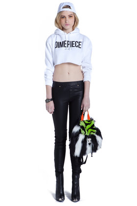 Dimepiece cropped hoodie / wht