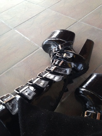 shoes boots leather goth shoes platform shoes buckles stay weird grunge black creepy