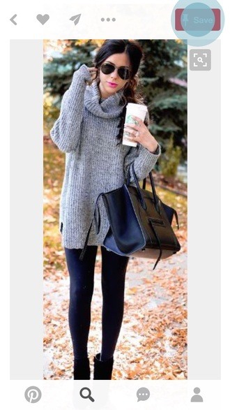 sweater grey sweater knit fall outfits turtleneck leggings